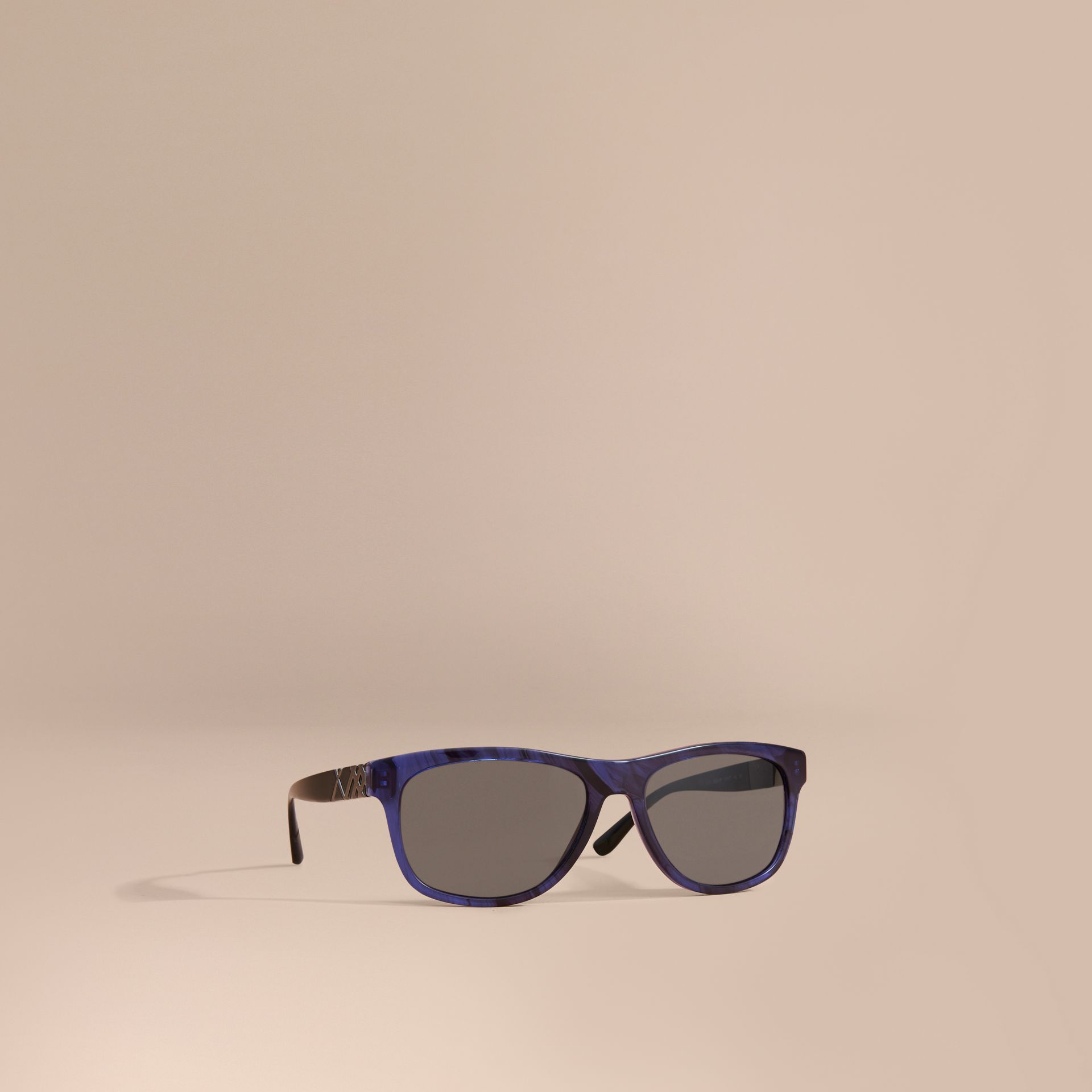 Check Detail Square Frame Sunglasses in Blue - Men | Burberry - gallery image 1