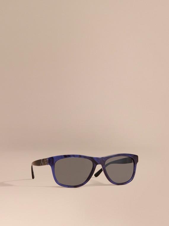 Check Detail Square Frame Sunglasses Blue