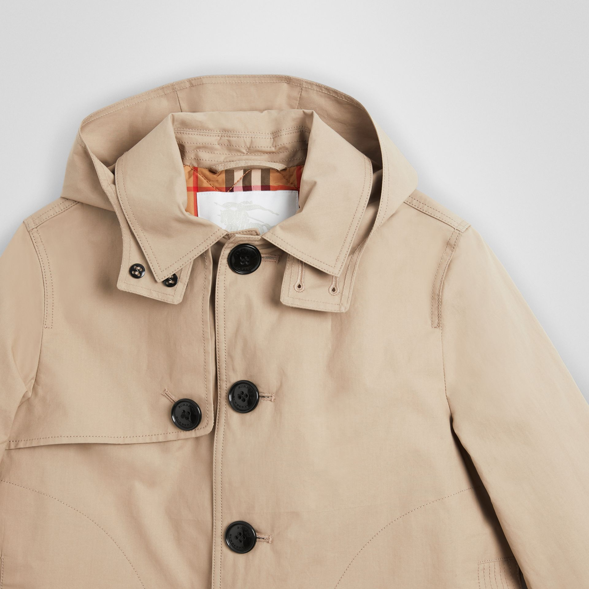 Detachable Hood Cotton Car Coat in Honey | Burberry - gallery image 4