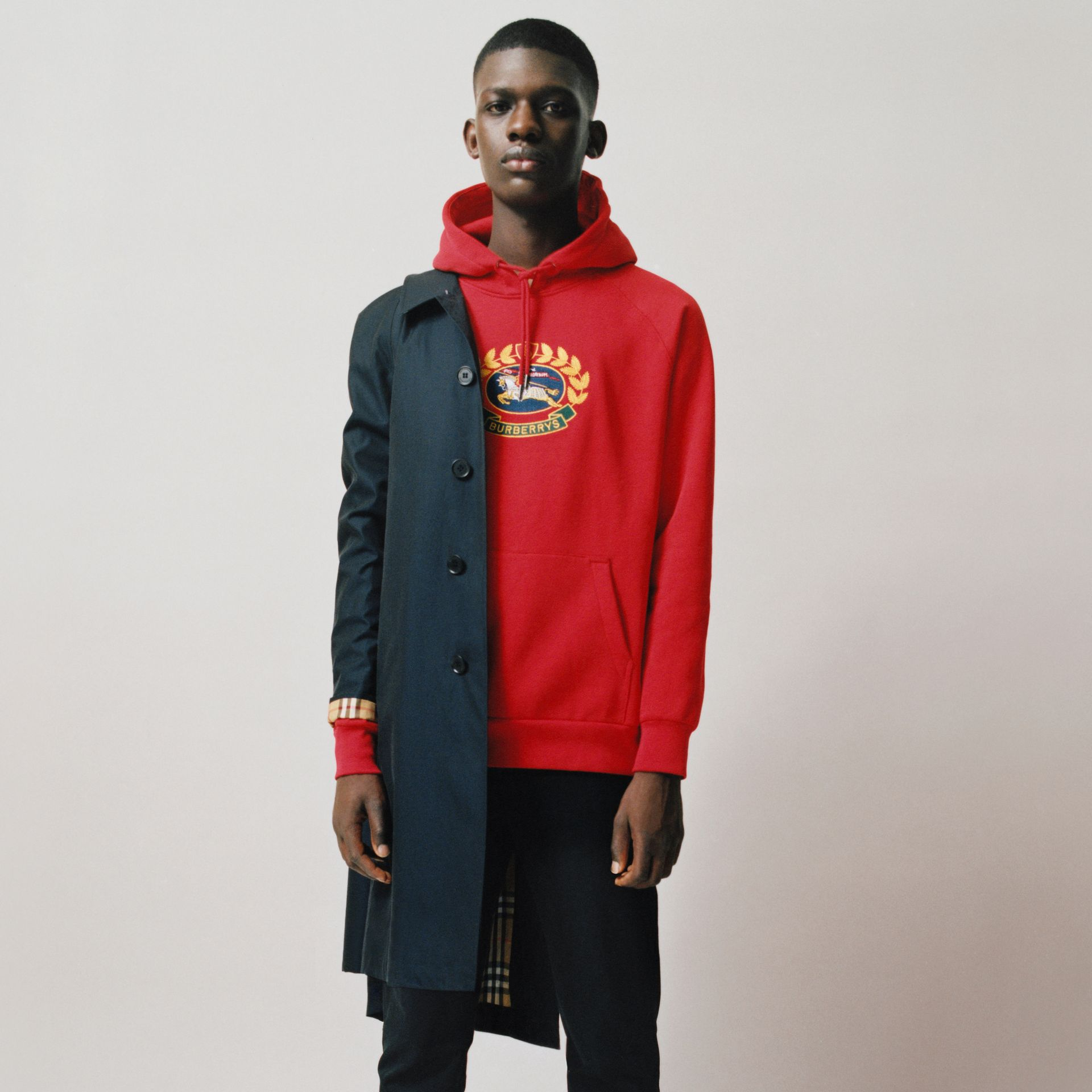 Embroidered Archive Logo Jersey Hoodie in Bright Red - Men | Burberry United Kingdom - gallery image 1