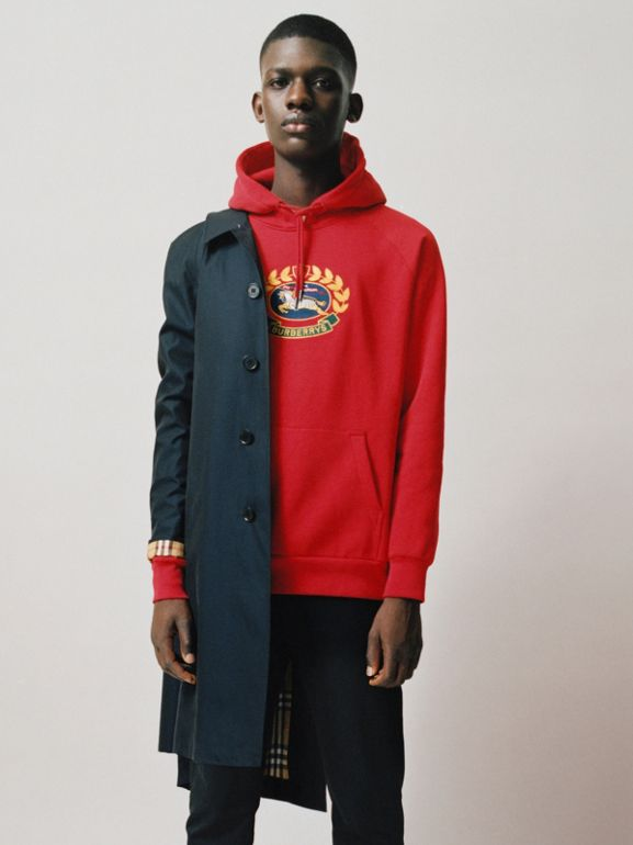 Embroidered Archive Logo Jersey Hoodie in Bright Red - Men | Burberry - cell image 1