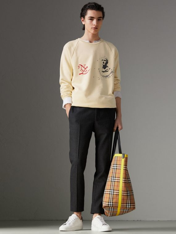 Portrait and Logo Print Cotton Sweatshirt in Pale Yellow