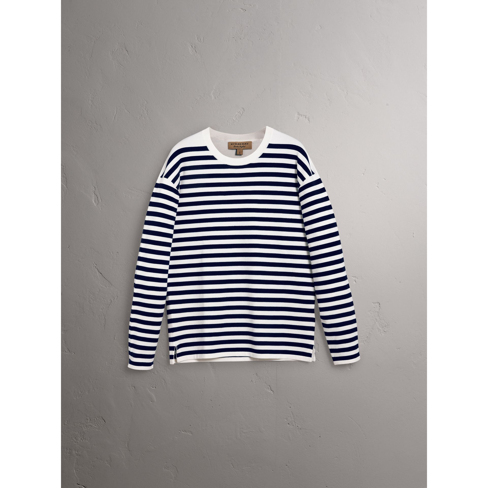Breton Stripe Merino Wool Silk Blend Top in Navy - Men | Burberry - gallery image 4