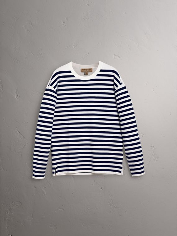 Breton Stripe Merino Wool Silk Blend Top in Navy - Men | Burberry - cell image 3