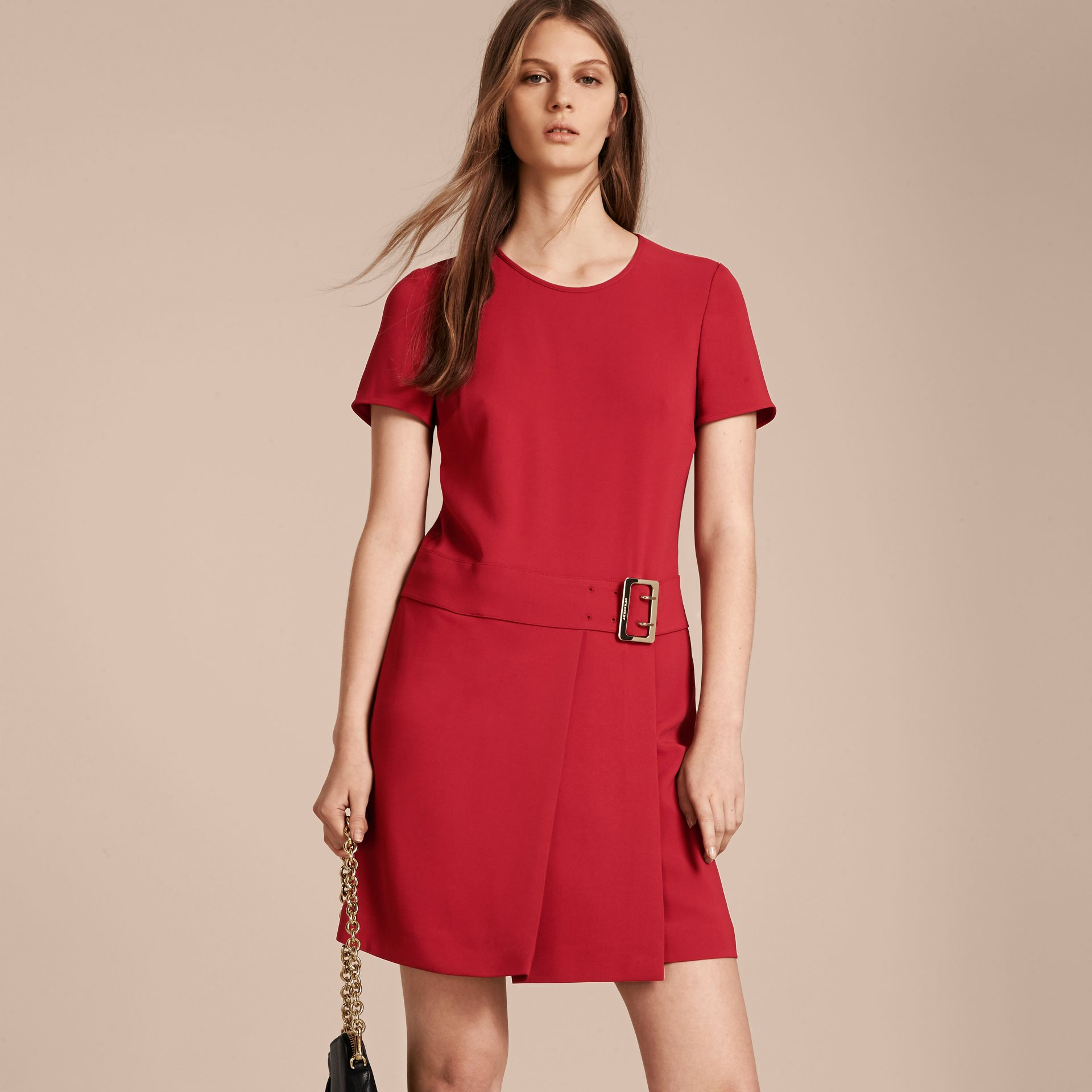 Buckle Detail Pleated Shift Dress in Parade Red - gallery image 6