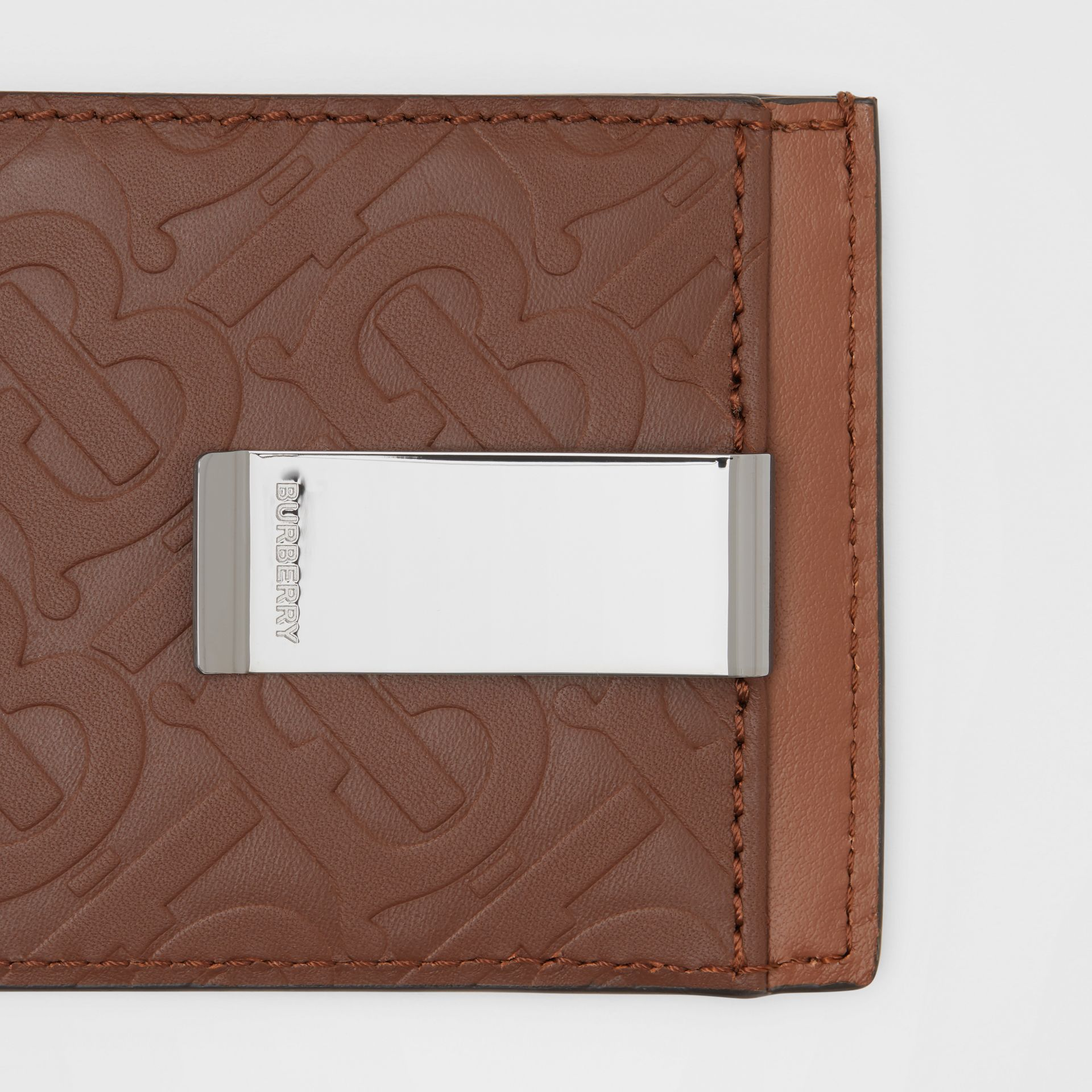 Monogram Leather Money Clip Card Case in Dark Tan - Men | Burberry United States - gallery image 1