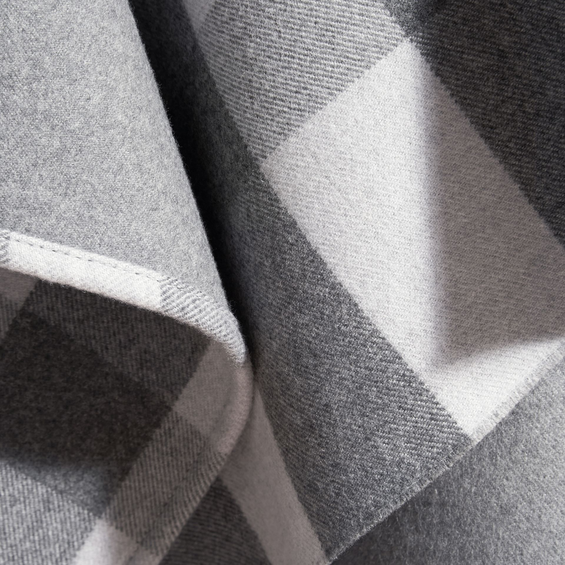 Pale grey Check Wool Cape - gallery image 2