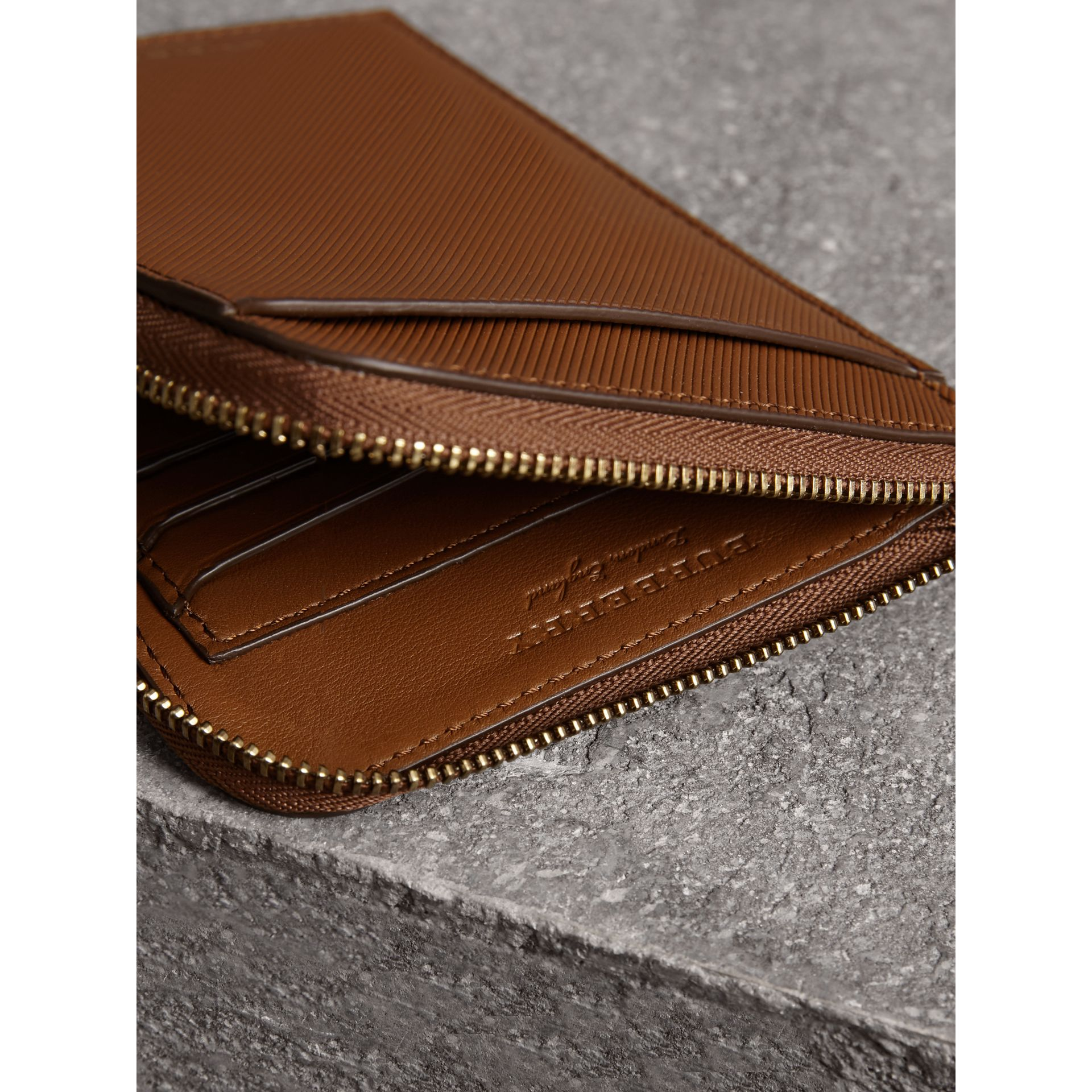 Trench Leather Ziparound Passport Holder in Tan | Burberry Canada - gallery image 3
