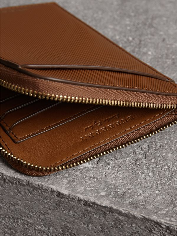 Trench Leather Ziparound Passport Holder in Tan | Burberry - cell image 3