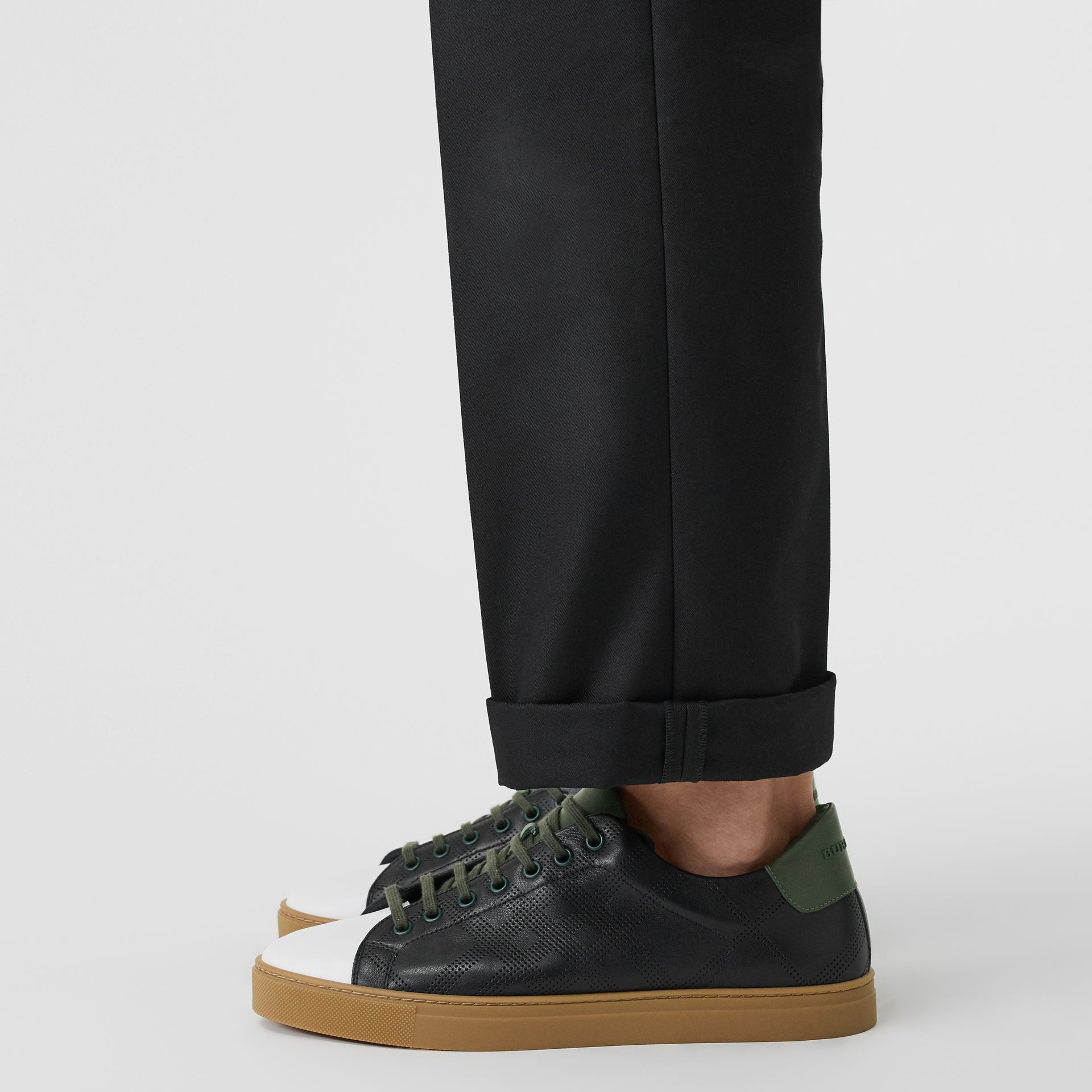 Perforated Check Leather Sneakers in Black/green - Men | Burberry Singapore - gallery image 2