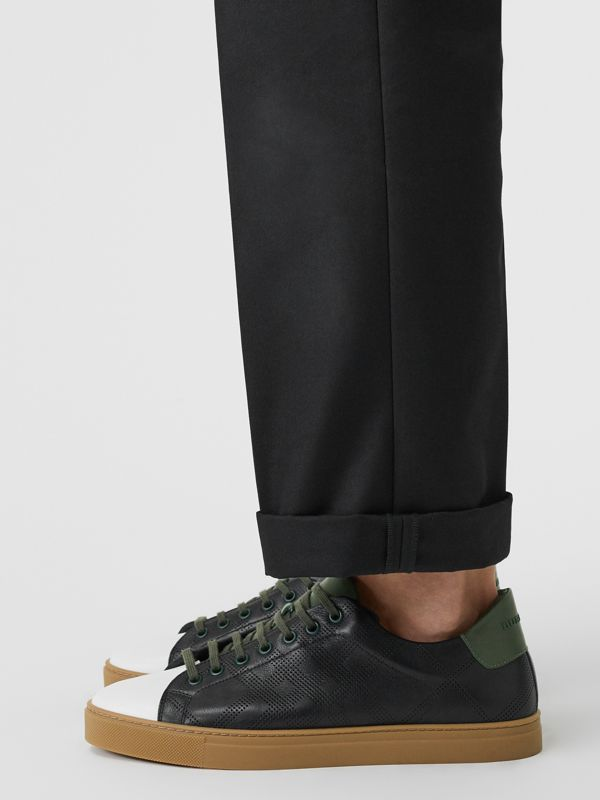 Perforated Check Leather Sneakers in Black/green - Men | Burberry Singapore - cell image 2