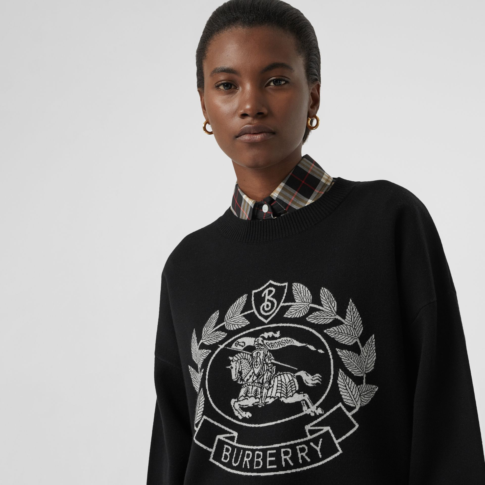 Crest Merino Wool Blend Jacquard Sweater in Black - Women | Burberry - gallery image 1