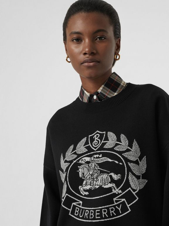 Crest Merino Wool Blend Jacquard Sweater in Black - Women | Burberry - cell image 1