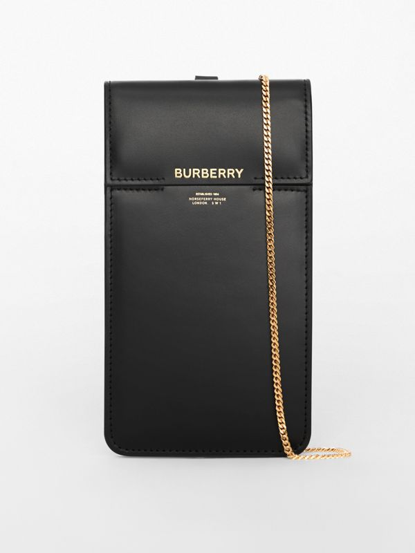 Custodia per telefono in pelle con catenella e stampa Horseferry (Nero) - Donna | Burberry - cell image 2