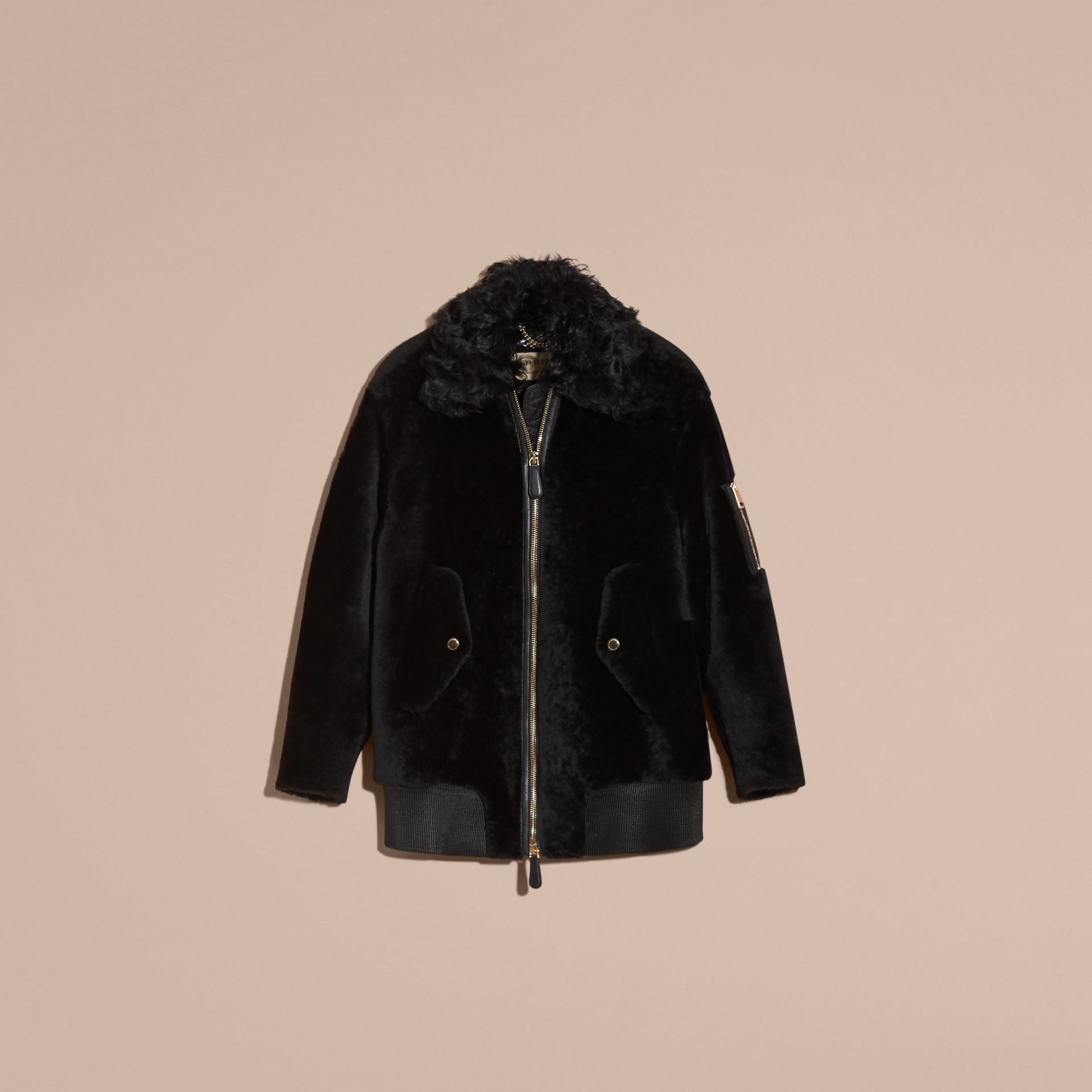 Black Shearling Bomber Jacket - gallery image 4