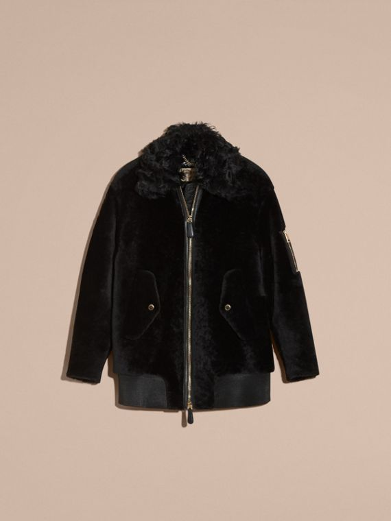 Black Shearling Bomber Jacket - cell image 3