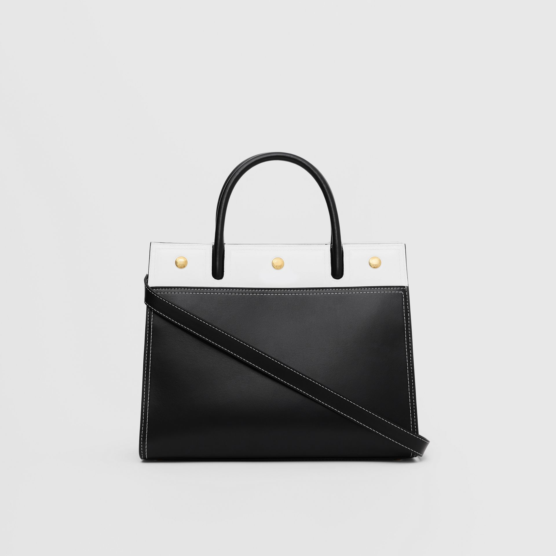 Small Leather Two-handle Title Bag in Black/white - Women | Burberry - gallery image 7