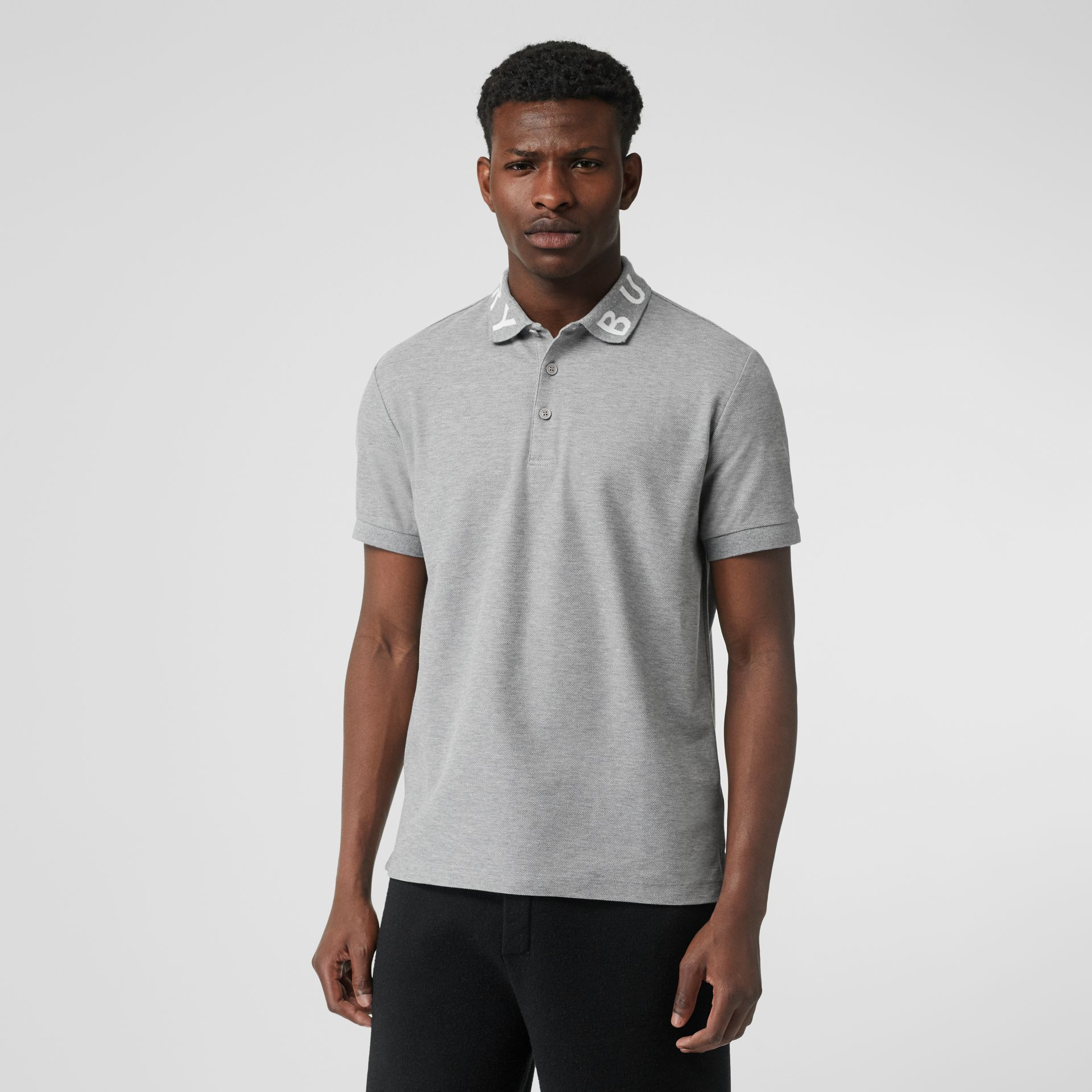 Logo Intarsia Cotton Piqué Polo Shirt in Pale Grey Melange - Men | Burberry - gallery image 0