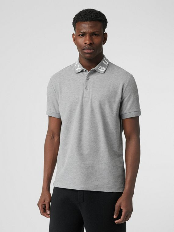 Logo Intarsia Cotton Piqué Polo Shirt in Pale Grey Melange