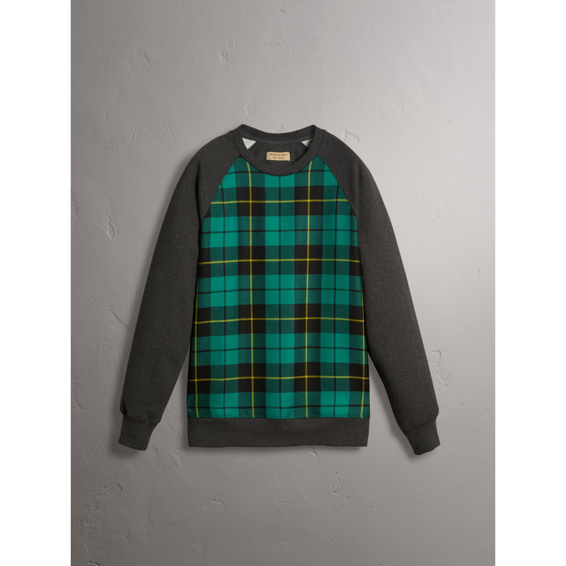 Tartan Panel Jersey Sweatshirt in Charcoal Melange - Men | Burberry - gallery image 3