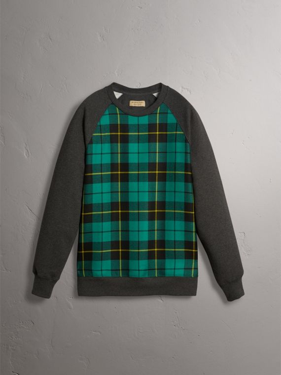 Tartan Panel Jersey Sweatshirt in Charcoal Melange - Men | Burberry - cell image 3