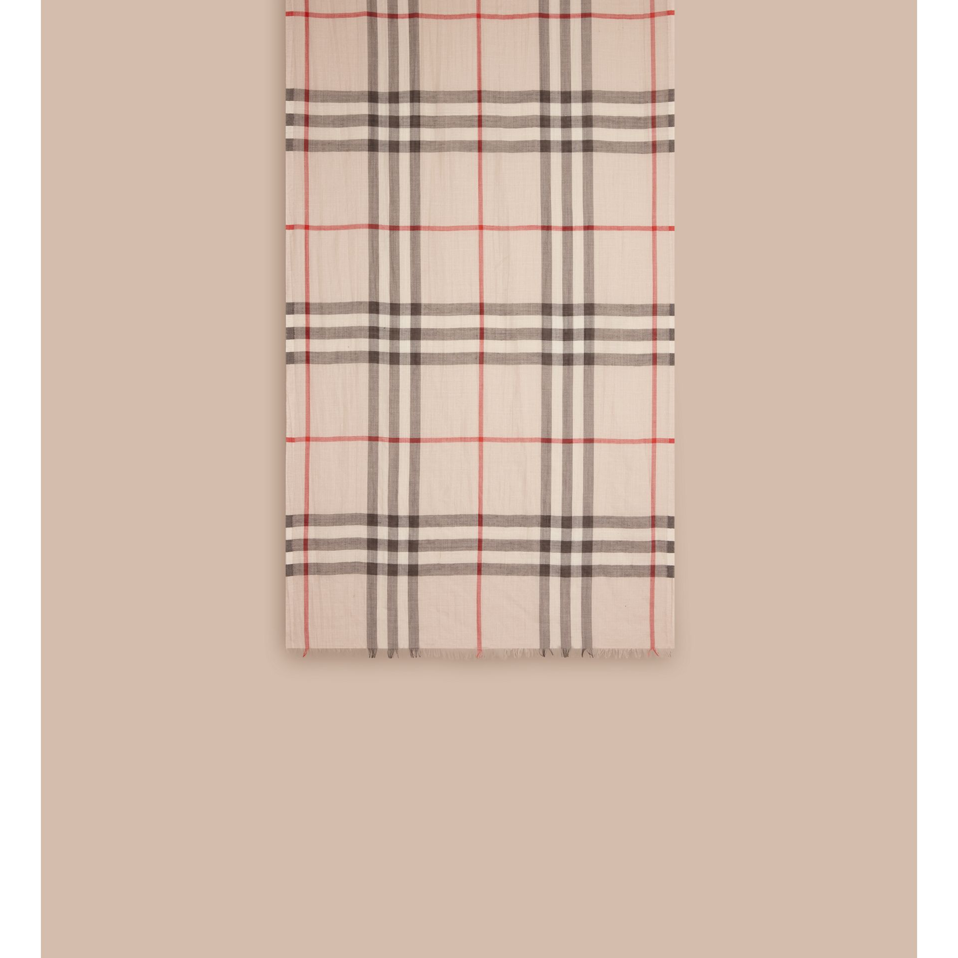 Lightweight Check Wool and Silk Scarf in Stone - gallery image 2