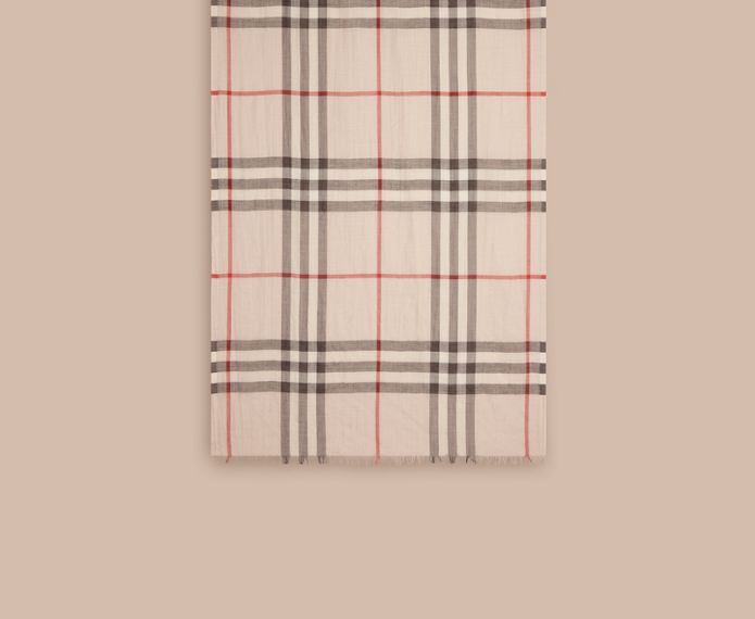 Lightweight Check Wool and Silk Scarf in Stone - cell image 1