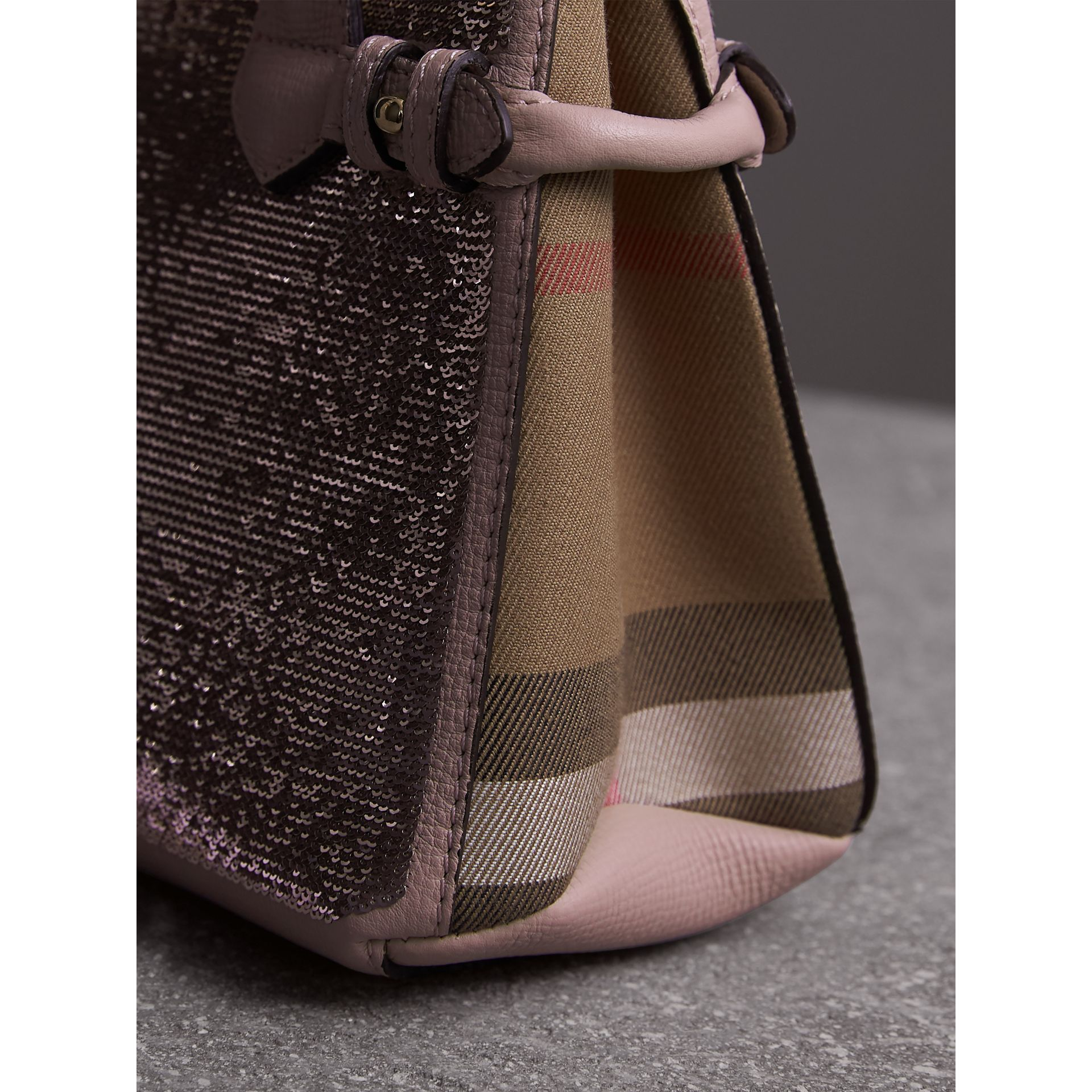 The Baby Banner in Sequins, Check and Leather in Pale Orchid - Women | Burberry - gallery image 2