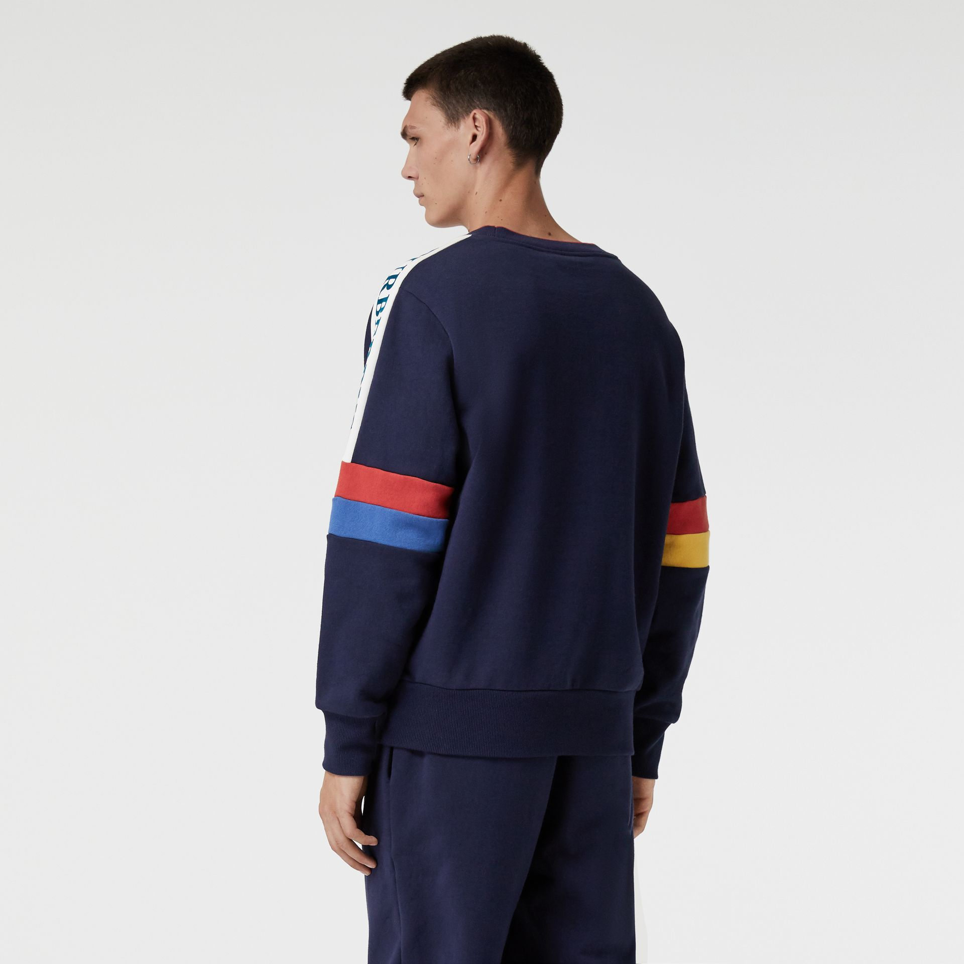 Colour Block Embroidered Archive Logo Sweatshirt in True Navy - Men | Burberry Australia - gallery image 2