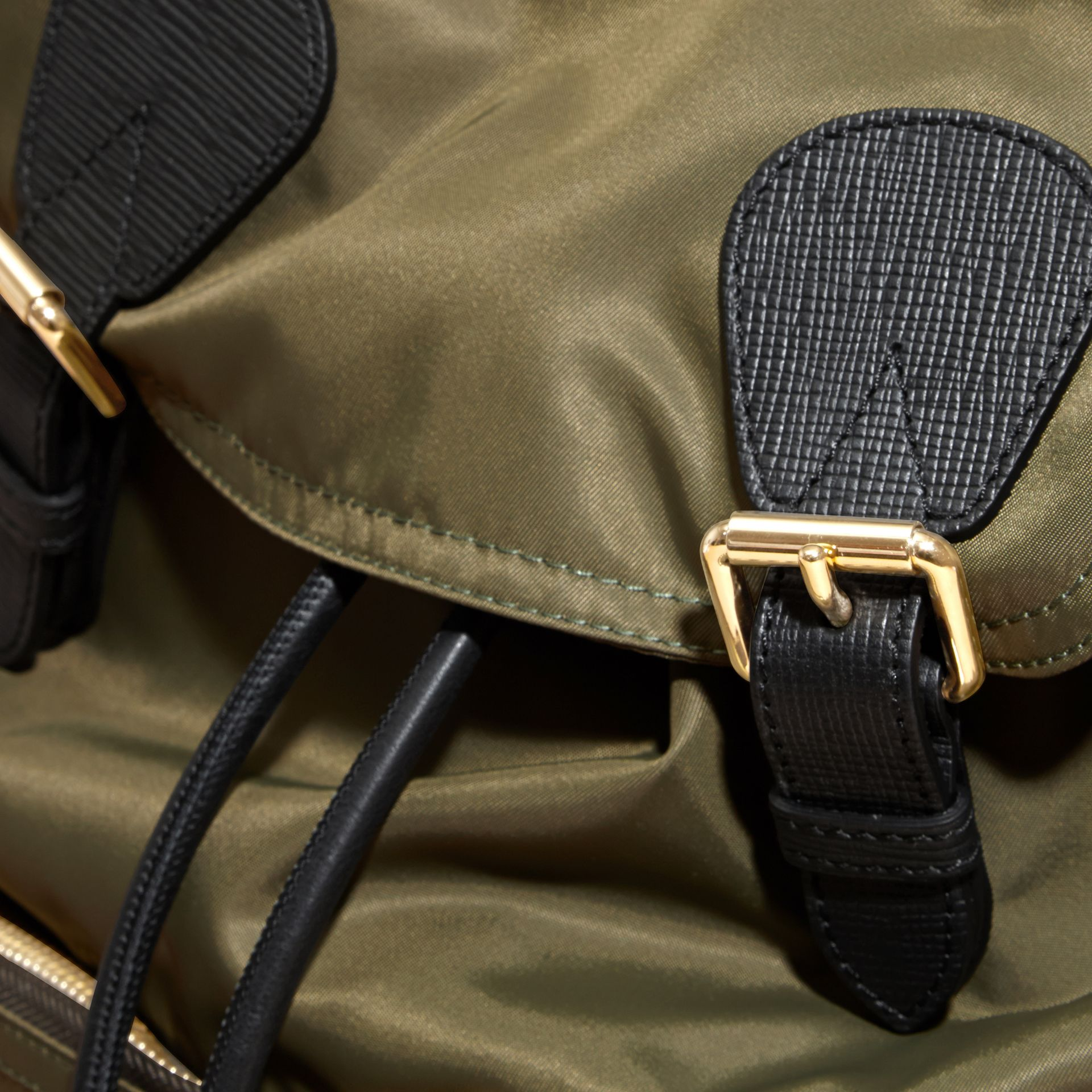 The Large Rucksack in Technical Nylon and Leather Canvas Green - gallery image 5