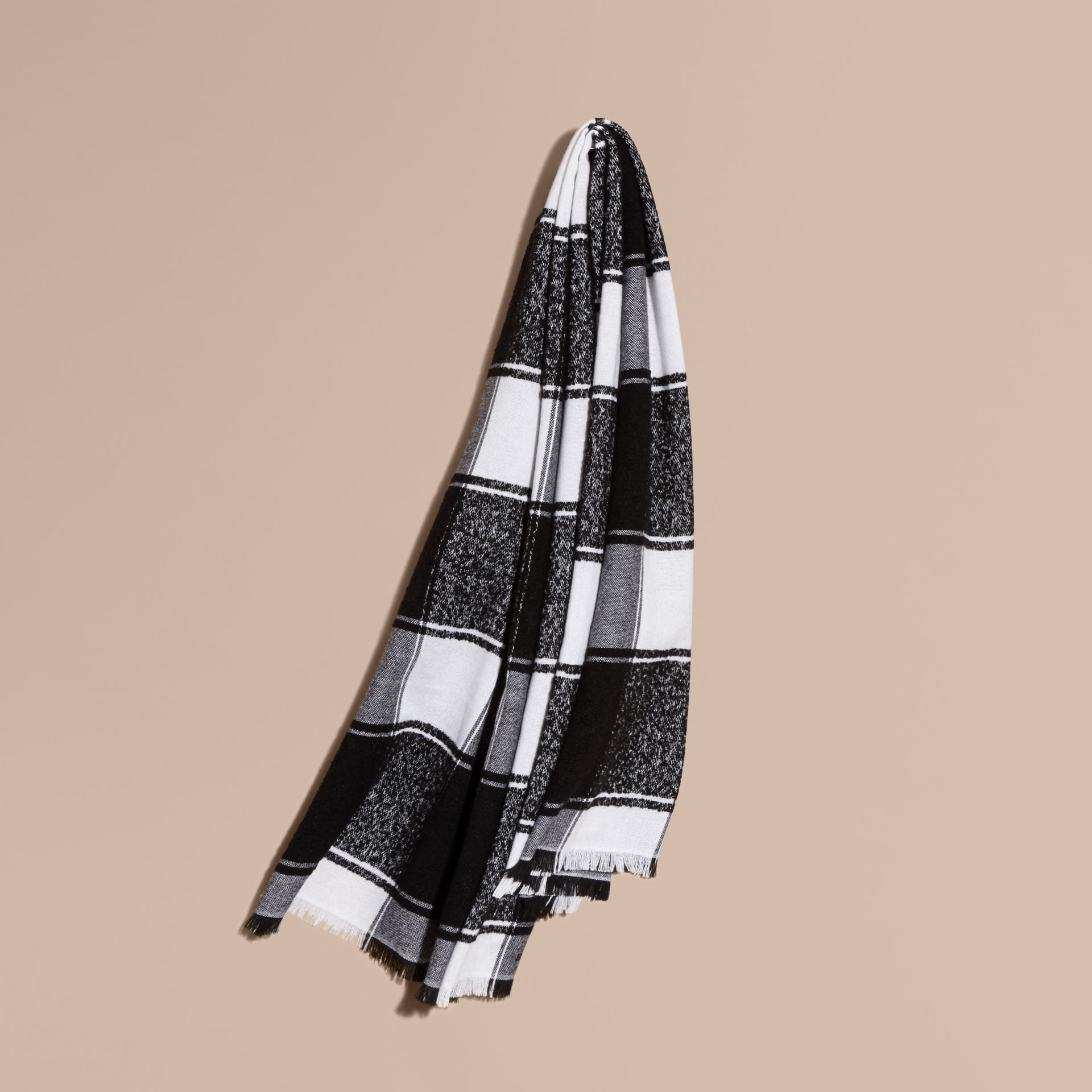 Black Oversize Check Cashmere Silk Scarf - gallery image 1
