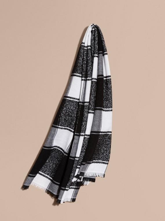 超大格紋喀什米爾絲綢圍巾