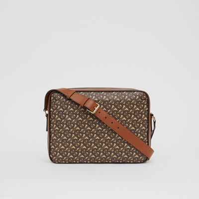 Monogram Print E canvas Messenger Bag in Bridle Brown Men | Burberry