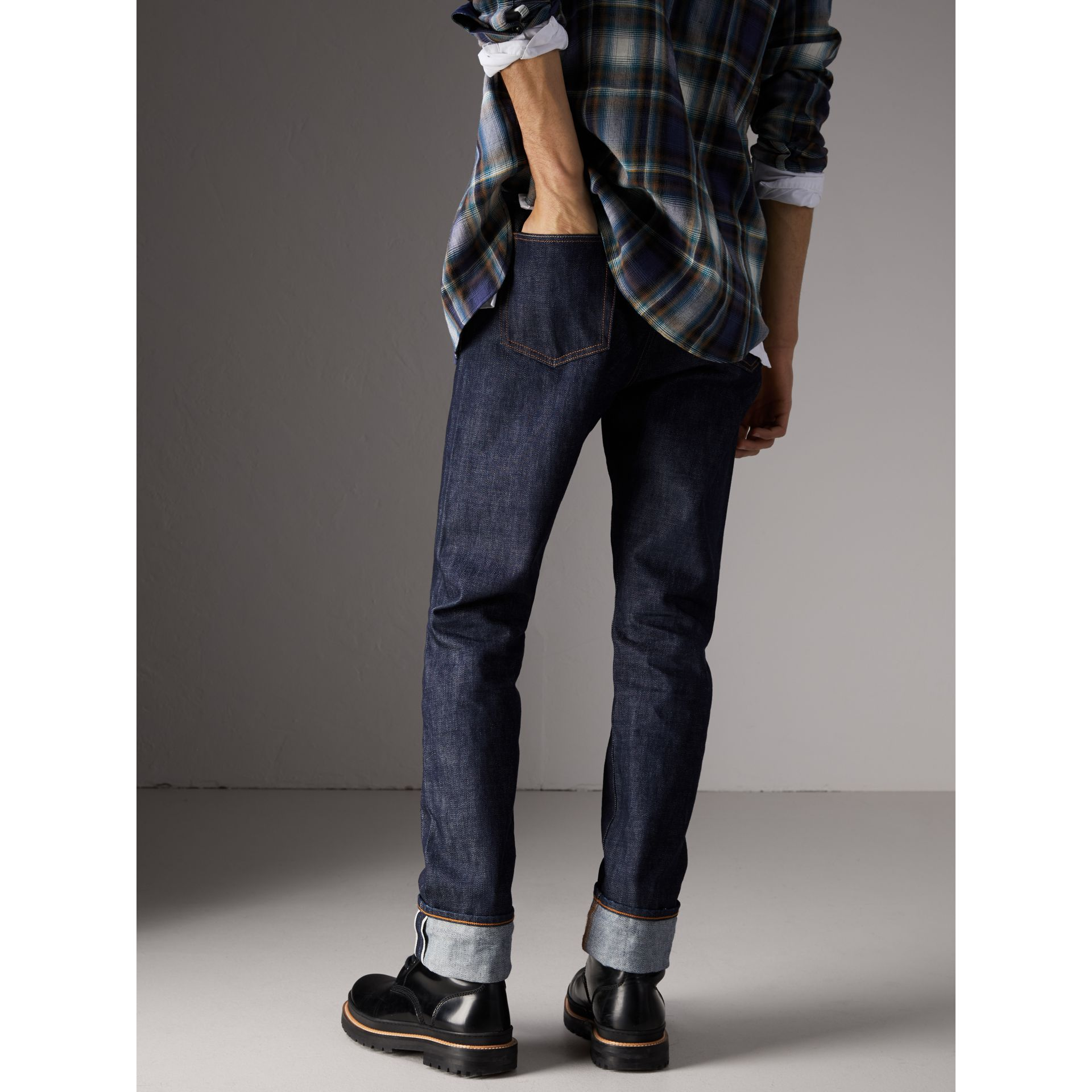 Relaxed Fit Japanese Selvedge Denim Jeans in Mid Indigo Blue - Men | Burberry - gallery image 2