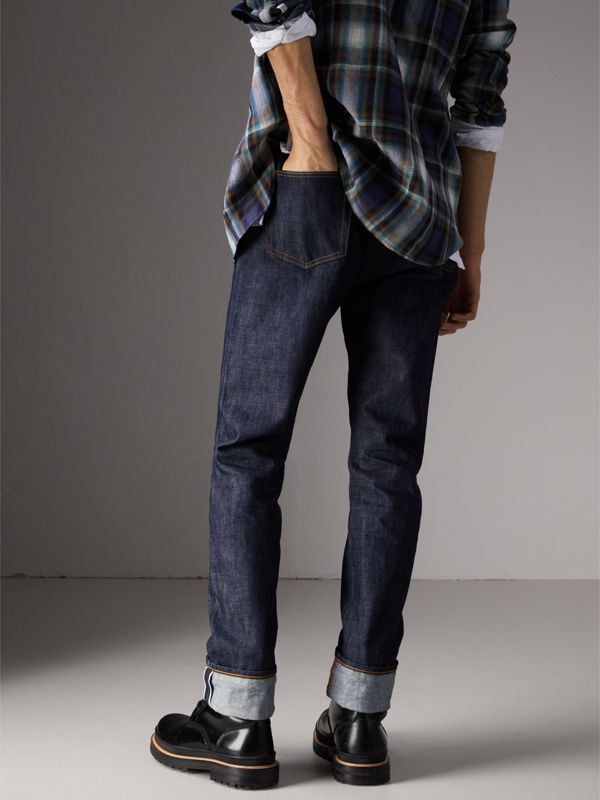 Relaxed Fit Japanese Selvedge Denim Jeans in Mid Indigo Blue - Men | Burberry - cell image 2