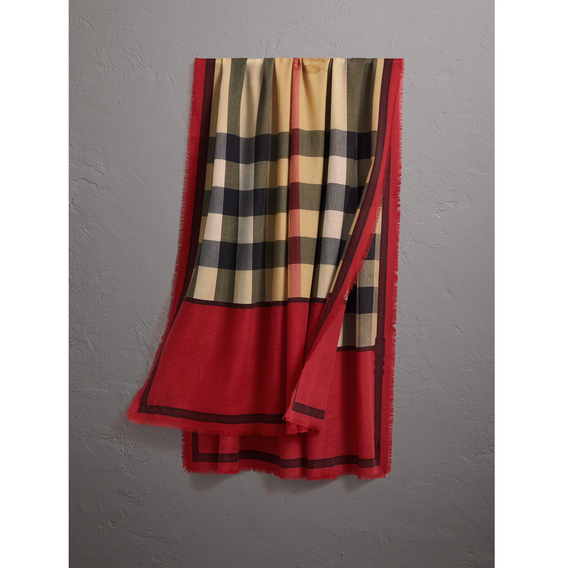 Contrast Border Horseferry Check Cashmere Scarf in Parade Red - Women | Burberry Australia - gallery image 1