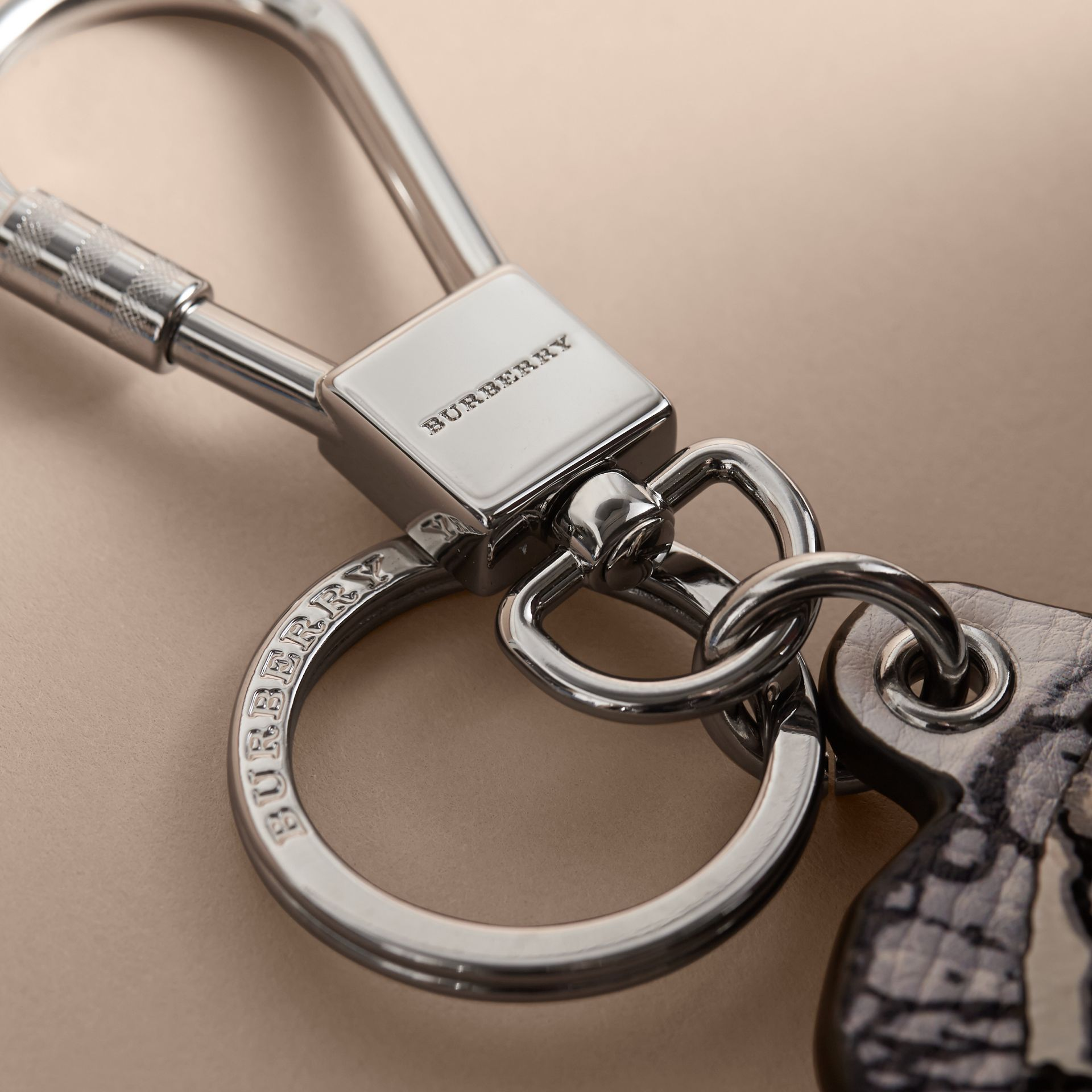 Pallas Helmet Motif Leather Key Ring in Black/white - Men | Burberry - gallery image 2