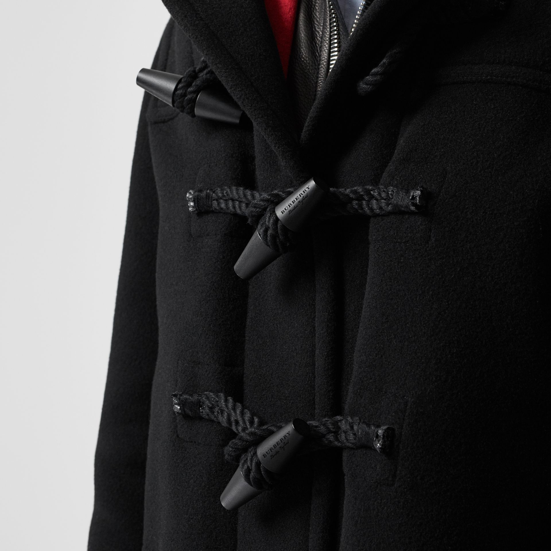 Vintage Check Detail Wool Blend Hooded Duffle Coat in Black - Men | Burberry - gallery image 4