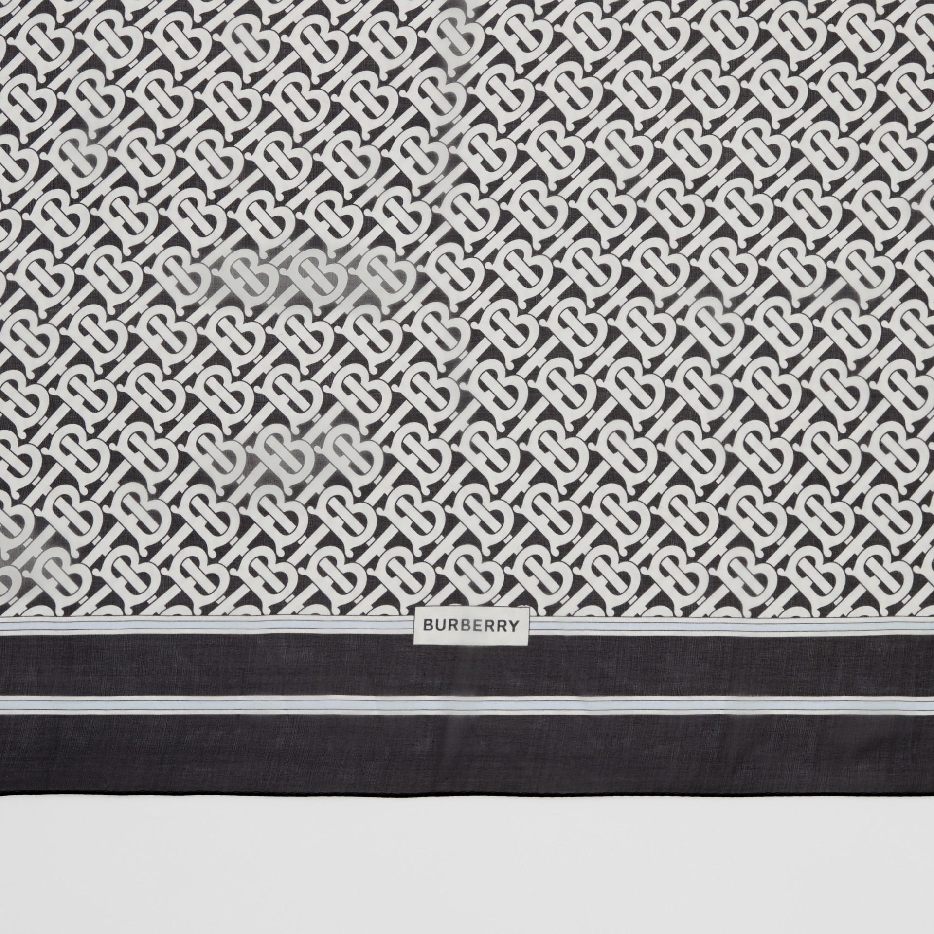 Monogram Print Silk Chiffon Scarf in Monochrome | Burberry United Kingdom - gallery image 1
