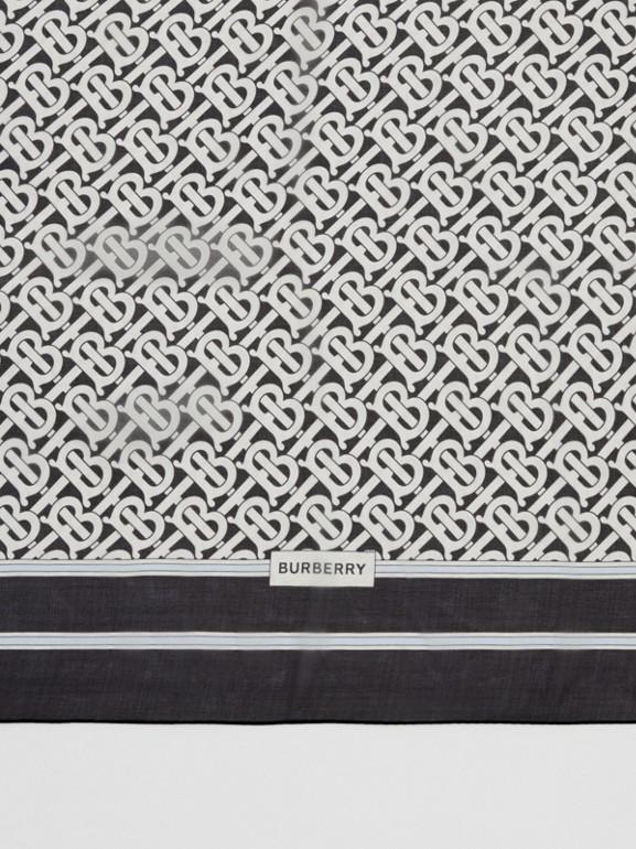 Monogram Print Silk Chiffon Scarf in Monochrome | Burberry United Kingdom - cell image 1