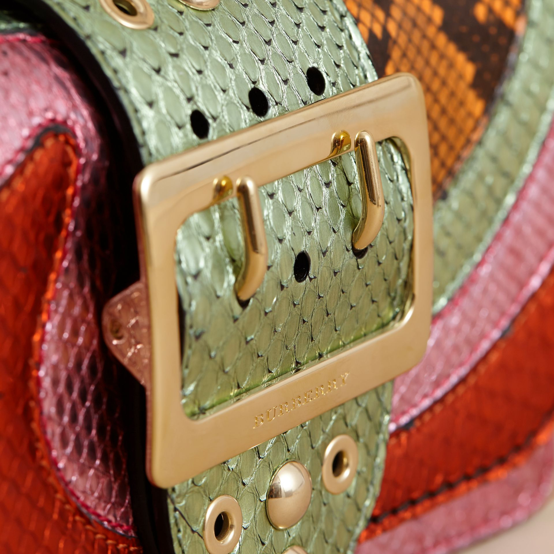 The Small Buckle Bag in House Check and Snakeskin - gallery image 2