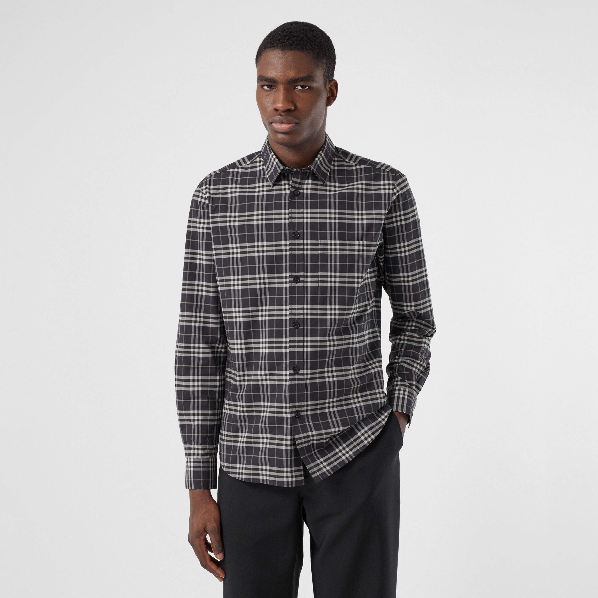 Small Scale Check Stretch Cotton Shirt in Dark Regency Blue - Men | Burberry - 1