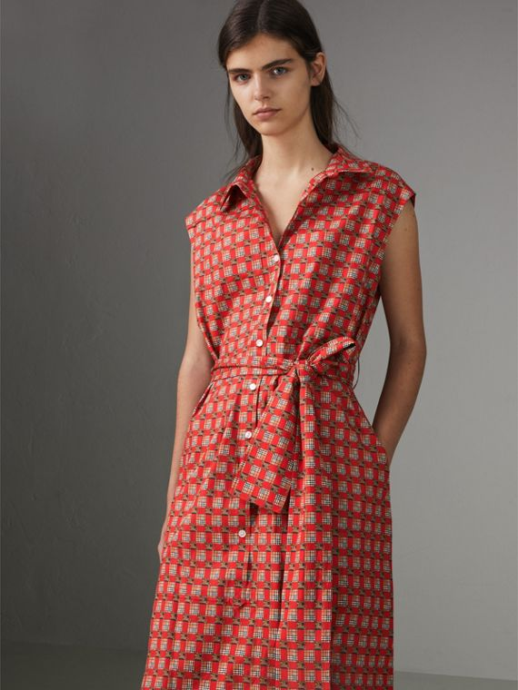 Tiled Archive Print Cotton Shirt Dress in Bright Red