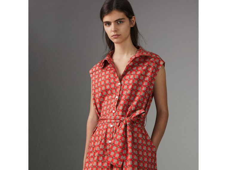 Tiled Archive Print Cotton Shirt Dress in Bright Red - Women | Burberry - cell image 4