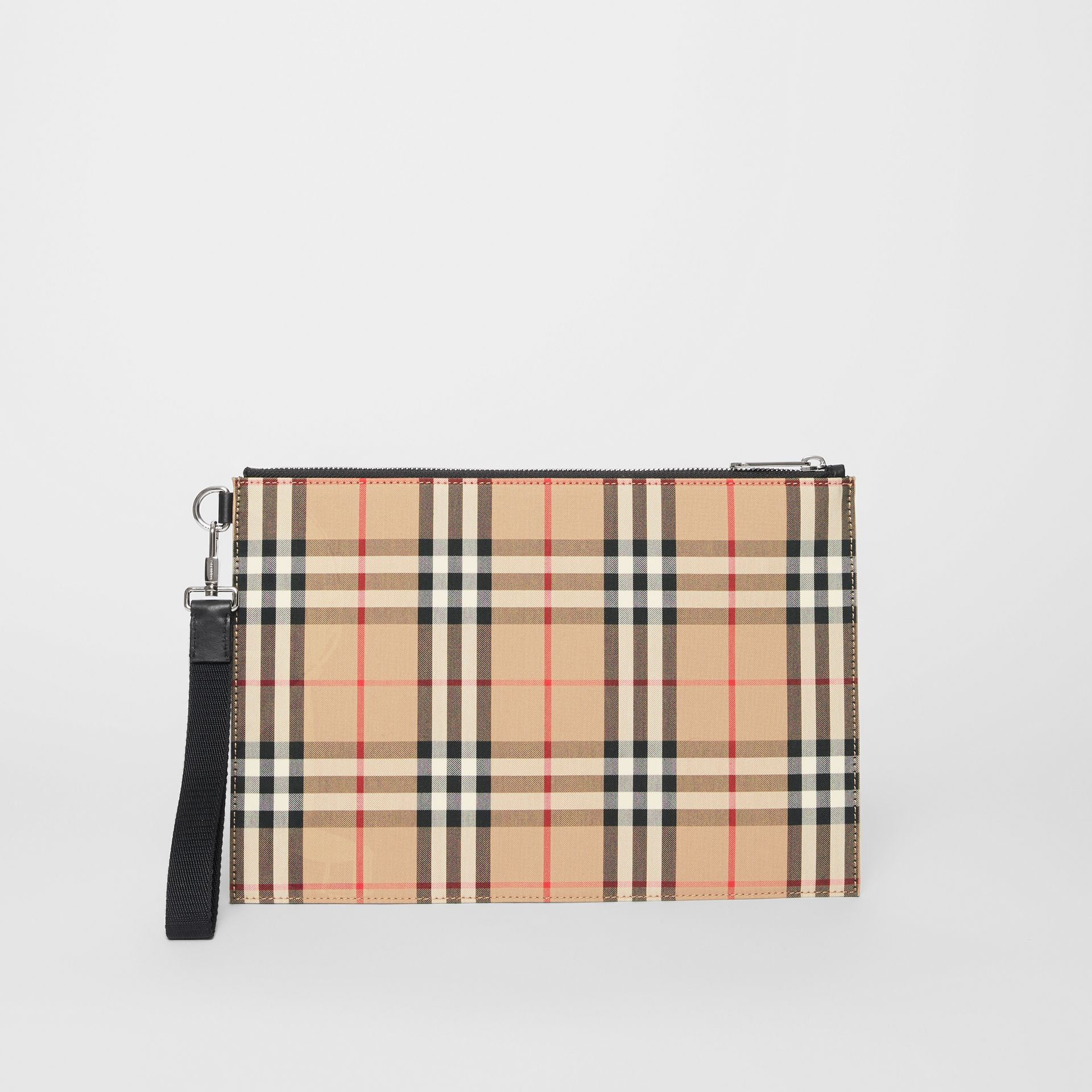 Vintage Check Cotton Zip Pouch in Archive Beige | Burberry - gallery image 3