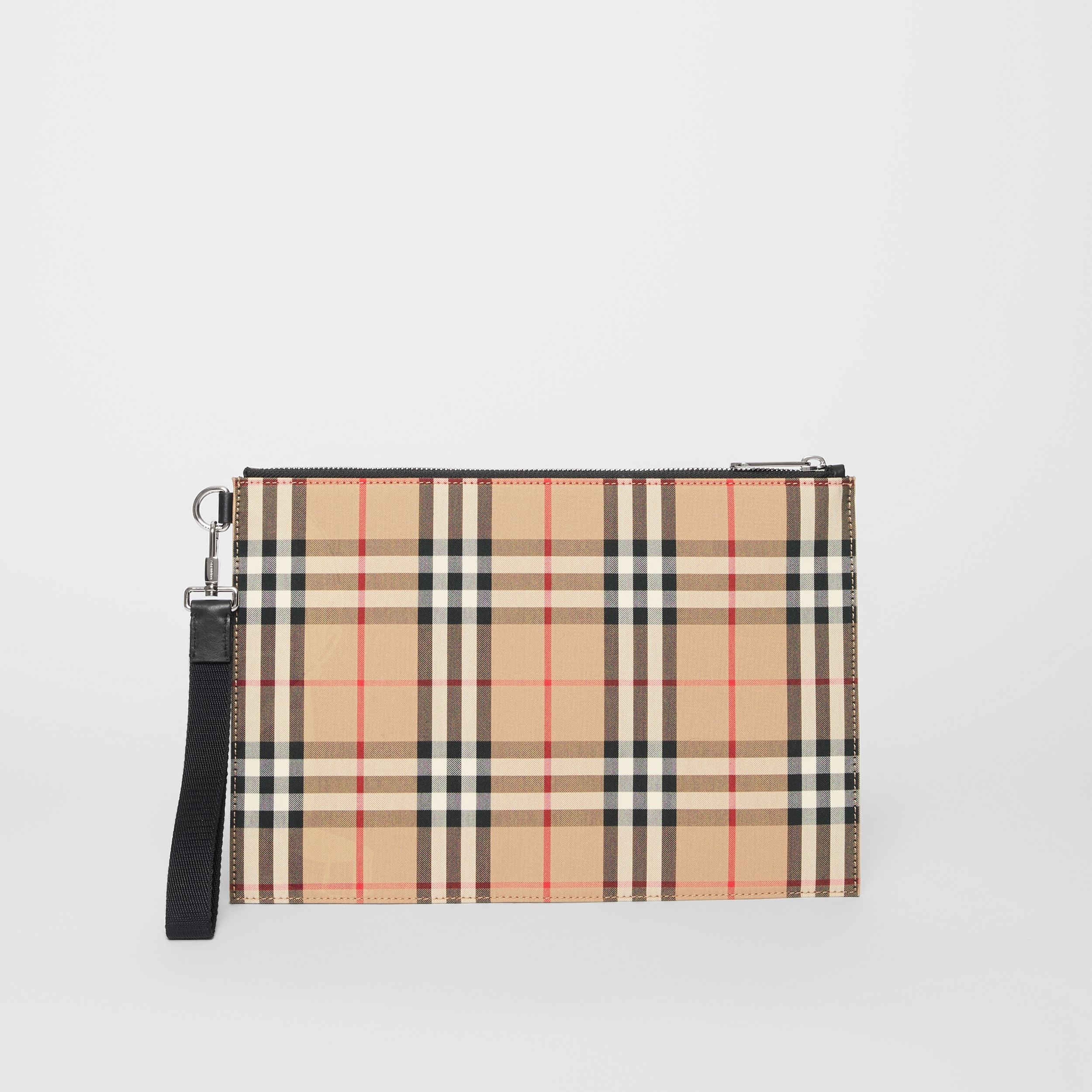 Vintage Check Cotton Zip Pouch in Archive Beige | Burberry Canada - 4