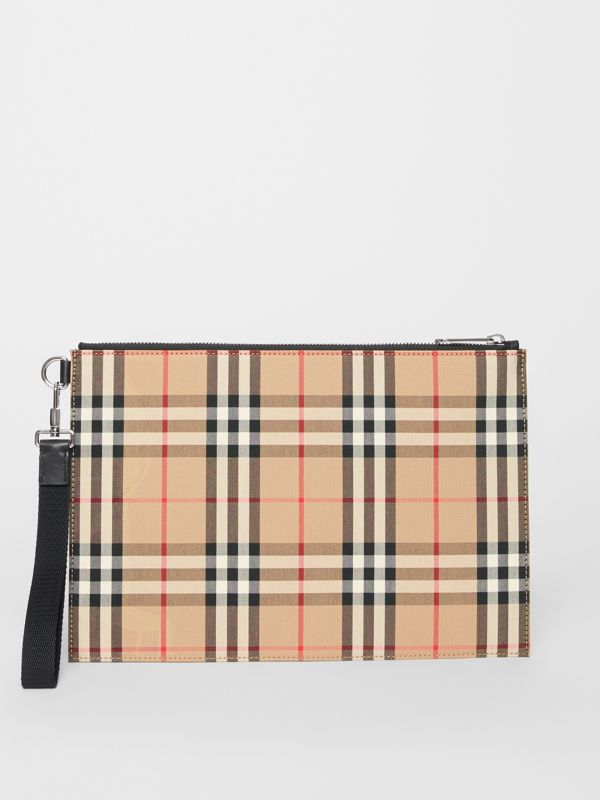 Vintage Check Cotton Zip Pouch in Archive Beige | Burberry Australia - cell image 3