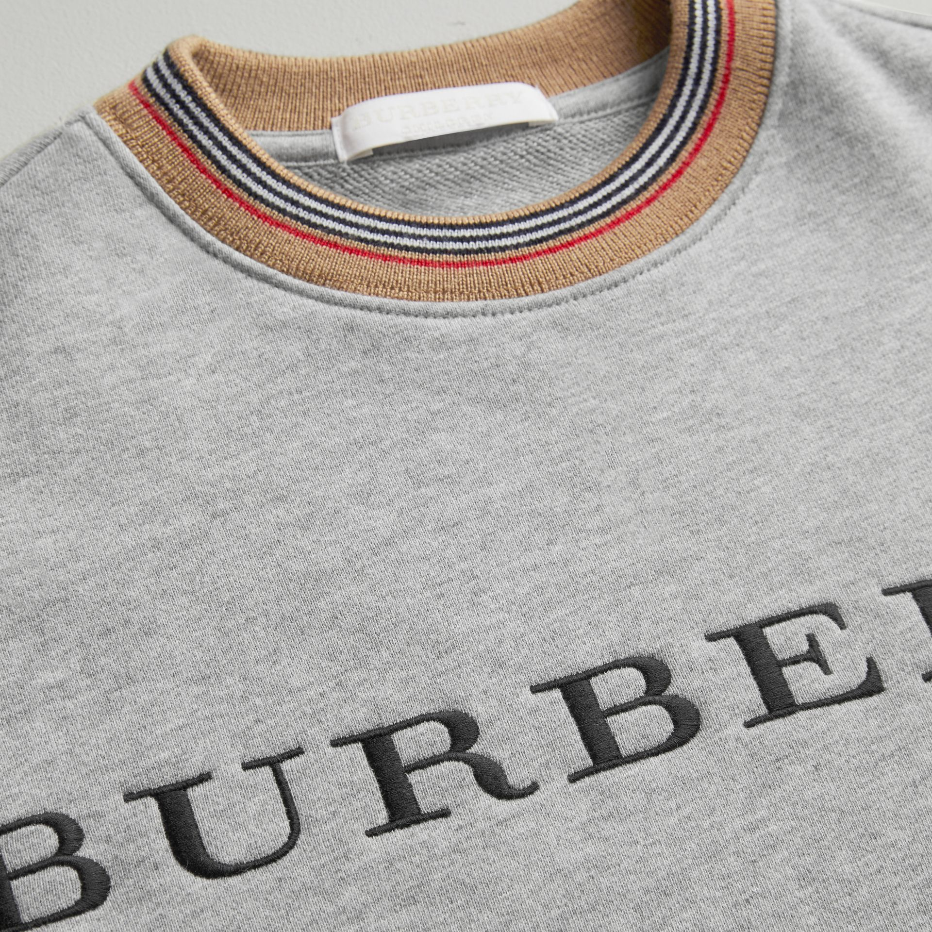 Embroidered Logo Cotton Dress in Grey Melange - Girl | Burberry - gallery image 1
