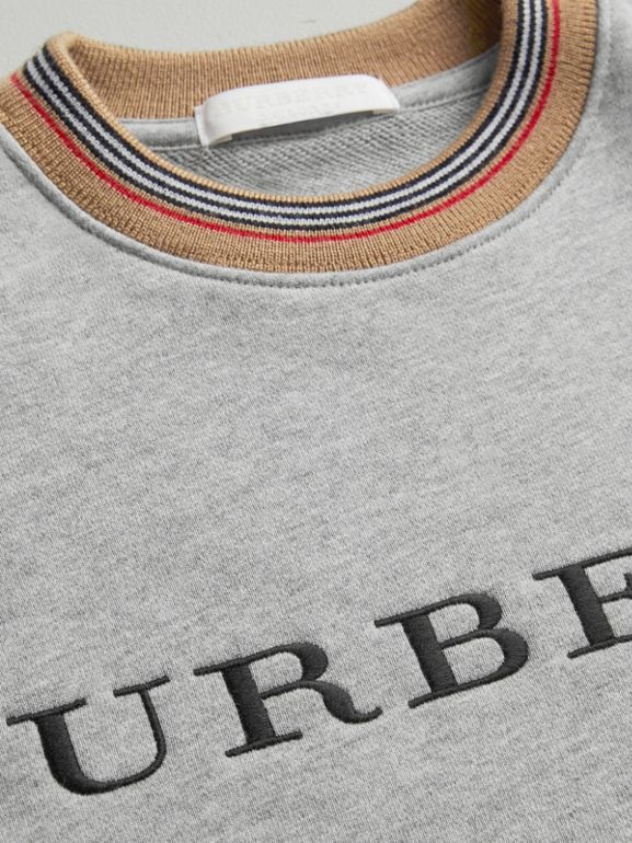 Embroidered Logo Cotton Dress in Grey Melange - Girl | Burberry - cell image 1