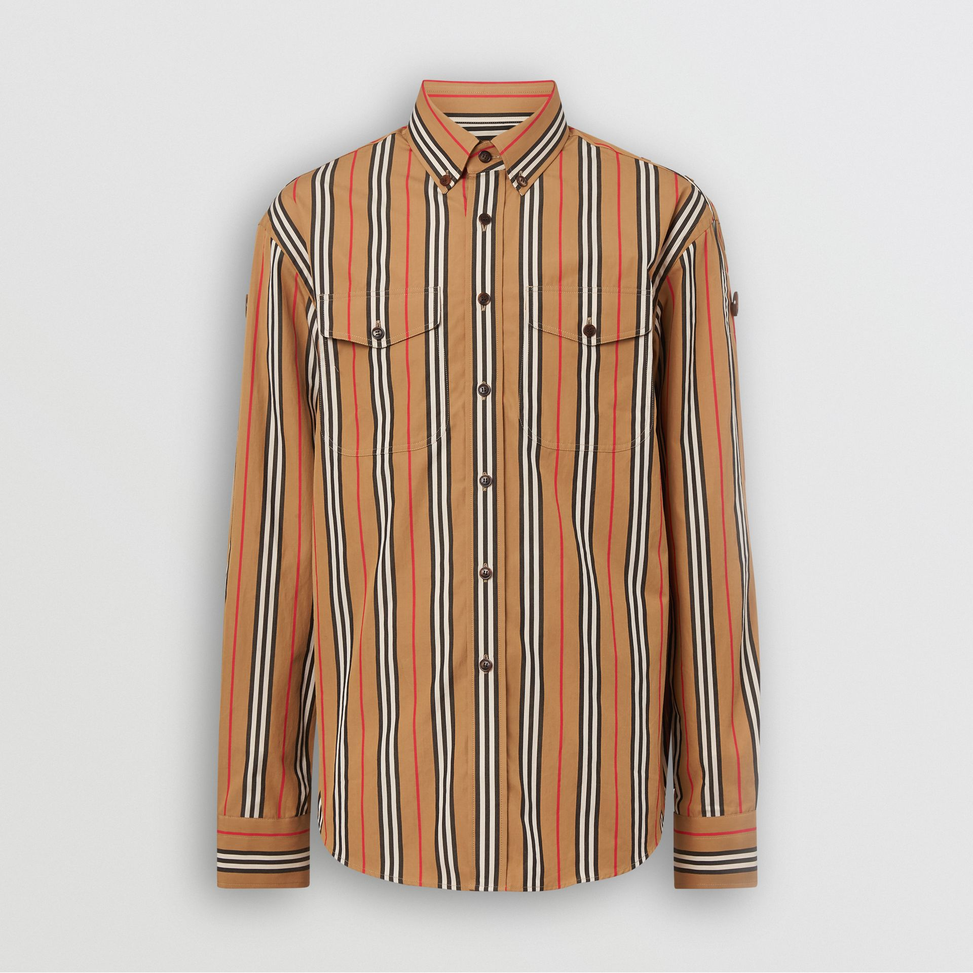 Heritage Stripe Cotton Shirt in Antique Yellow - Men | Burberry - gallery image 3